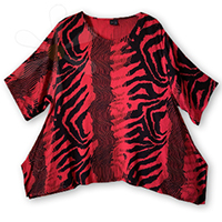 FEZZAH-SPECIAL (FRINGELESS)<BR>(RUBY VINTAGE JUNGLE CAT PRINT)