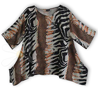 FEZZAH-SPECIAL (FRINGELESS)<BR>(STONE VINTAGE JUNGLE CAT PRINT)