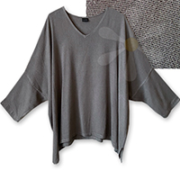 ZAYID-PLUS-SPECIAL RARE! V-NECK<BR>(STONE LIGHT SILVER WEAVE)