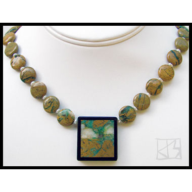 GREEN CANYON OPAL INTARSIA INLAY PENDANT NECKLACE