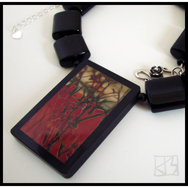 RARE FOREST ABSTRACT RED CREEK JASPER INTARSIA PENDANT NECKLACE