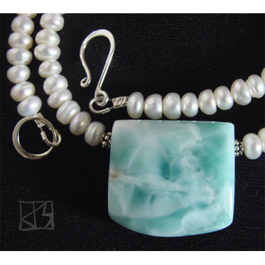CARIBBEAN BLUE LARIMAR FOCAL PEARL NECKLACE