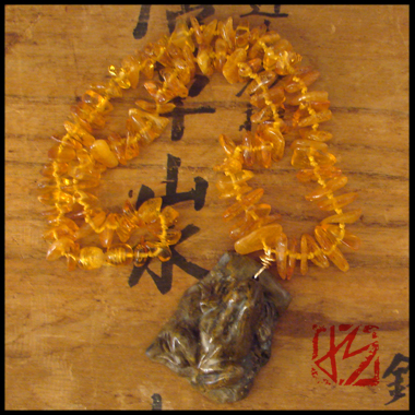 CARVED FROG  FOSSIL AMBER BEADED NECKLACE